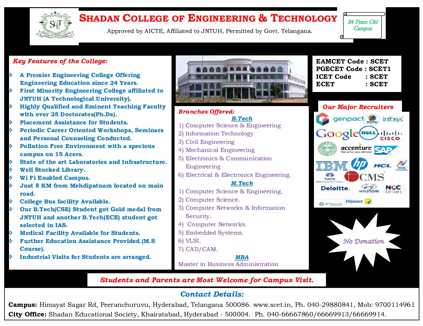Admissions are in Progress. For Details Click here